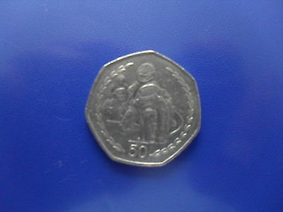 1997 ISLE OF MAN FIFTY PENCE  (50p) USED COIN - MOTOR CYCLISTS