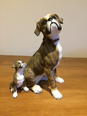 Country Artists Large Brindle Boxer With Puppy 9 Inches Height
