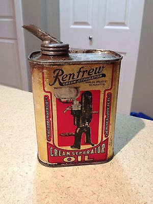 Renfrew Cream Separator Oil Can Rare 1930's collectible advertising Ontario Can