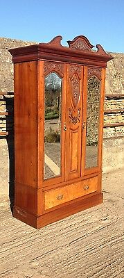 Carved Mahogany BEVELLED mirrored Wardrobe