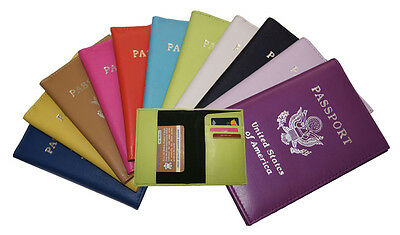 Passport Cover Holders Genuine Leather ID Wallet Case Travel Organizer New !