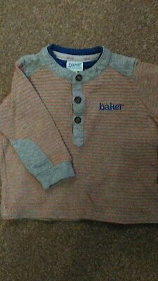 Gorgeous Ted Baker Top / Long Sleeve T Shirt 6-9 Months Ribbed & Striped