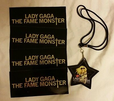 Lady Gaga The Fame Monster Promo Stickers and Monster Ball Star Lanyard 2009