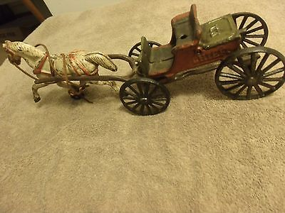 "Antique Cast Iron 15 "" Police Chief Horse Drawn Wagon"