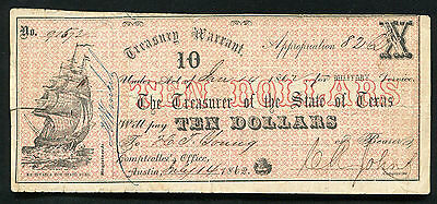 1862 $10 Ten Dollars Treasury Warrant Austin, Tx Military Service Issue