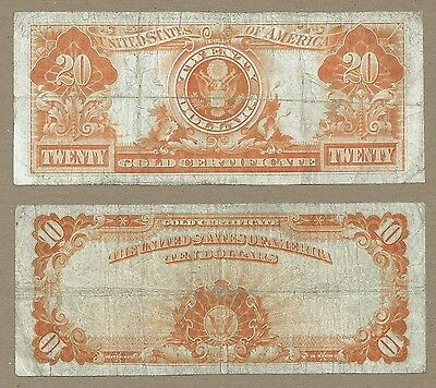 1922 Gold Certificate Set Of $20 And $10 == Large Size Bills == Reduced