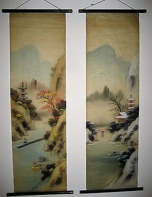 "Signed Japanese Hand Painted Sansui Zu Hanging Silk Scrolls 36"" Autumn & Winter"