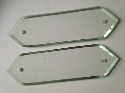 "Vintage Pair Of Bevelled Glass Door Finger Plates 10"" In Length"