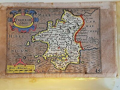 John Speed Small Map Of Pembrokeshire Dated 1676. Unframed