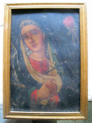 Beautiful Antique Retablo Ontin With Image Of Our Lady Of Sorrows Framed