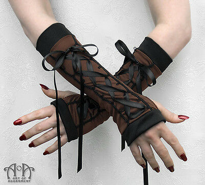 Steampunk Black Brown LACE UP FINGERLESS GLOVES Satin Ties Long Elbow Length G20