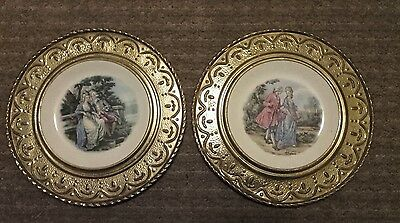 2 Alfred Meakin Ceramic In Brass Wall Plates. Georgian 'Lovers' in the fresh air