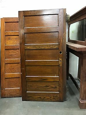 """Antique Oak 5 Panel Door Several Available 39"""" x 83"""" x 1.75"""" Old House Salvage"""