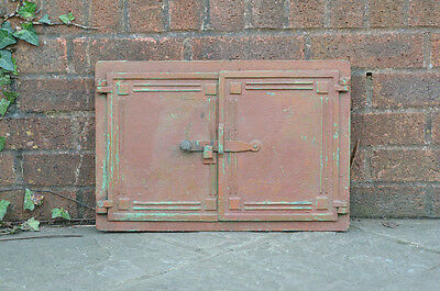 48 x 32.5 cm old cast iron fire bread oven door doors flue clay range pizza