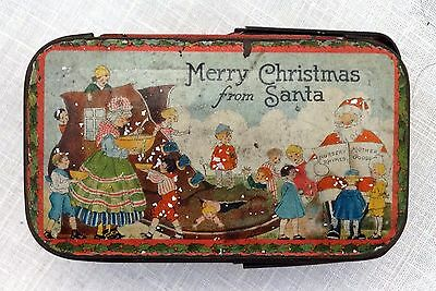 Vintage Christmas NURSERY RHYMES COLLECTIBLE TIN BOX Handle Tindeco RARE