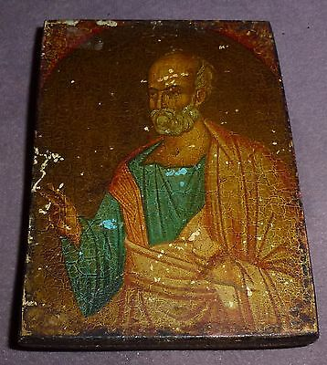 19th Century Russian Wooden Icon Worn With age Excellent Item