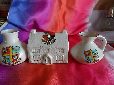 crested china jug & vase great malvern city of worcester house  worcestershire