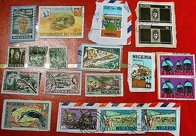 Job Lot Collection Vintage Old Nigeria Stamps