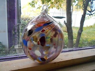 Blown Glass Window Panel Suncatcher  Gazing Ball  Silvered Art
