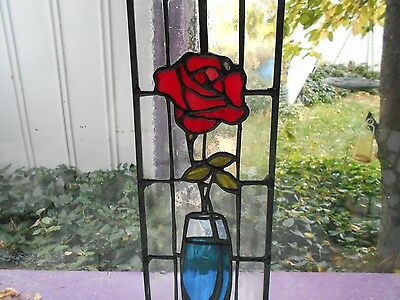 Stained Glass Window Panel Suncatcher  Red Rose  5 3/4 X  16""