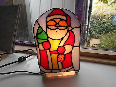 Stained Glass Window Panel Suncatcher   Christmas Art Santa Lamp Vintage