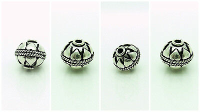 FOUR 925 Bali Sterling Silver Beads, 12 mm, Antique Silver Finish, Heart Deco