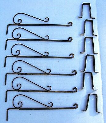 Vintage Set 6 Metal Swing Arm Curtain Rods & Wall Brackets Simple Scroll Design