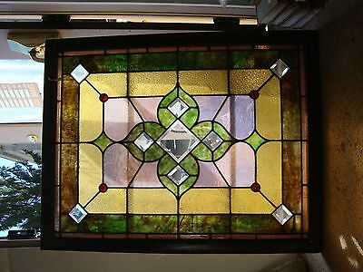 Beautiful Vintage Stained Glass Window Architectural Salvage Decorator Accent