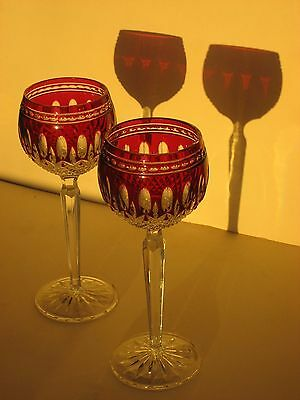 Waterford Crystal Ruby To Clear Cut Clarendon Hock Wine Glasses Red Glass Pair 2