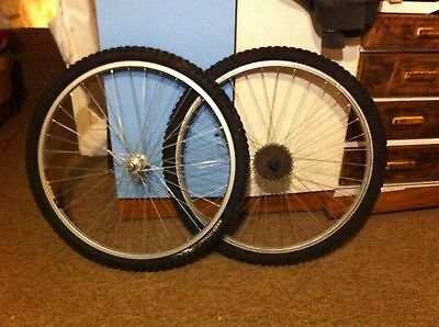 "26"" Mountain bike wheels inc inner tubes tyres and 7 speed cassette"