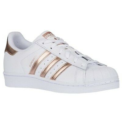 ADIDAS Women's Superstar Originals Shoes Sneaker White Metallic Copper Rose Gold