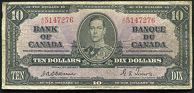 BC-24a 1937 $10 TEN DOLLARS BANK OF CANADA OSBOURNE/TOWERS A/D PREFIX