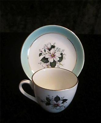 Pretty Vintage Cup & Saucer - coffee size - Christmas Rose - marked E England