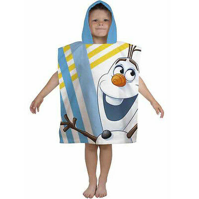 Official Disney Frozen Olaf Chillin Character 100% Cotton Hooded Towel Poncho's