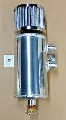 Polished Aluminum baffled oil catch can breather can dual right 10 AN