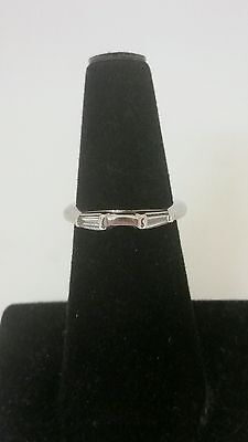 14K White Gold Wedding Band with baguette diamonds