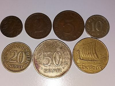 First Estonia set of 7 coins 1 krooni+ 50+20+10+5+2+1 cents 1929-36