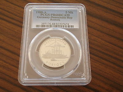 Germany GDR proof 5 Mark 1988 Port Rostock PCGS PR68DCAM only 3200 pieces !