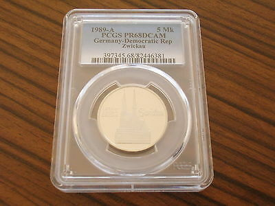 Germany GDR proof 5 Mark 1989 Zwickau Church PCGS PR68DCAM only 3200 pieces !