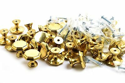 Gold Hexagon Drawer Pulls Knobs Cabinet Hardware- Lot- Set of 38