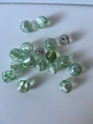 17pcs 12mm and 10mm Round Glass Lampwork Beads - Green / white - Stripe / Floral