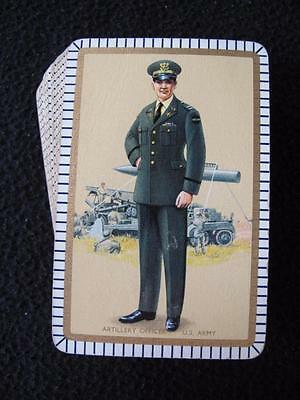 VINTAGE 1950's PACK DECK of PLAYING CARDS - MILITARY - ARTILLERY OFFICER US ARMY