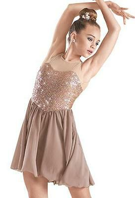 Dance Costume Large Adult Taupe Sequin Dress Lyrical Ballet Solo Competition