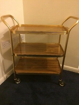 Vintage Retro 3 Tier Gold Edged & Trays Tea trolley Wooden Effect removable tray