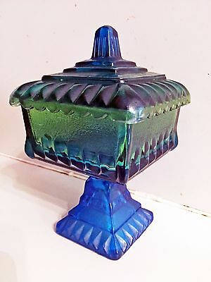 Vintage Blue And Green Pedestal Candy Dish with Lid - Classic!