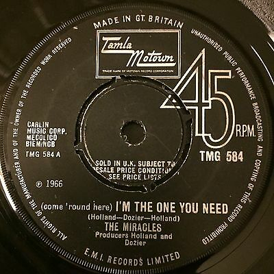 """7"""" the miracles im the one you need tamla motown northern soul  mod"""