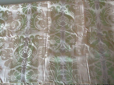 "SANDERSON Fabric Remnant Cotton Sateen Jacquard Green, Beige 47"" x 22"""