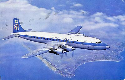 Airline Issue Postcard Olympic DC6