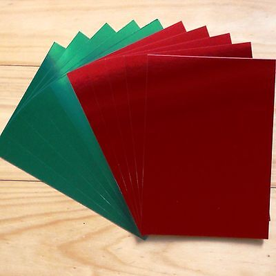 RED & GREEN CHRISTMAS FOIL MIRROR CARDSTOCK 275 GSM A5 x 10 SHEETS - NEW