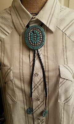 Vintage Navajo Silver Turquoise Bolo Tie Jewelry Petit-Point Style